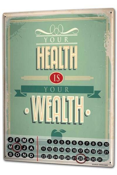 Perpetual Calendar Nostalgic Motif Health is wealth Tin Metal Magnetic