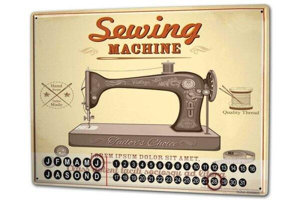 Perpetual Calendar Retro Sewing machine Tin Metal Magnetic