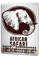 Perpetual Calendar Asia Elephant Motif African Safari Tin...