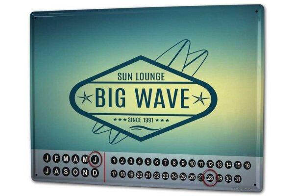 Perpetual Calendar Holiday Travel Agency Big Wave Tin Metal Magnetic