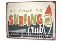 Perpetual Calendar Holiday Travel Agency Surf Club Tin...
