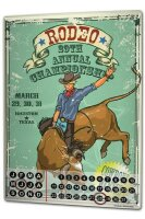 Perpetual Calendar Retro Western Rodeo Championship Tin...