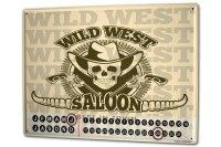 Perpetual Calendar Retro Western Wild West Saloon Tin...