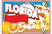 Fridge Magnet City Florida greetings Palms girl