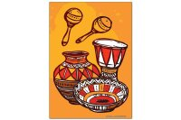 Fridge Magnet Retro Western Drum