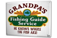 Tin Sign XXL Angler Home Fishing guide fishing areas...