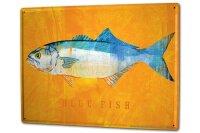 Tin Sign XXL Coastal Marine Blue fish