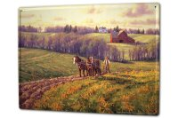 Tin Sign XXL Professional Guild Field work with horses...