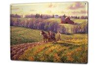Blechschild XXL Nostalgie Beruf Feldarbeit mit Pferden