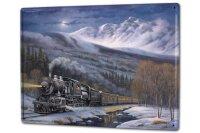 Tin Sign XXL Locomotive Traveling Snow Mountain Railway...