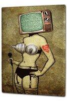 Tin Sign XXL Fun Ravtive Woman television on microphone