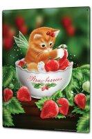 Tin Sign XXL Fun Ravtive Cat wing strawberries