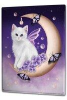 Tin Sign XXL Fantasy Motif Cat crescent wing