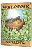 Tin Sign XXL Retro Welcome Spring Birds Nest leaves