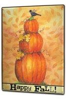 Tin Sign XXL Retro Joyful Autumn Pumpkins Leaves