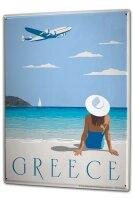 Tin Sign XXL Holiday Travel Agency Greece beach women...