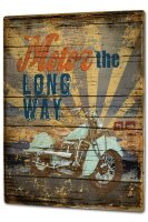 Tin Sign XXL Nostalgic Motorcycle saying engine the long Way