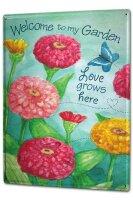 Tin Sign XXL Kitchen Yellow Red Flower Butterfly Garden...