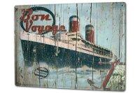 Tin Sign XXL Maritime Bon Voyage passenger ship anchor