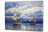Tin Sign XXL Kitchen Ship Fleet lake