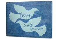 Tin Sign XXL Fun Love is all you need white doves
