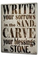Tin Sign XXL Fun Write your worries in the sand