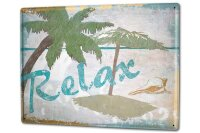 Tin Sign XXL Fun relaxation palm trees