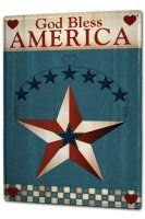 Tin Sign XXL Fun God bless America star heart