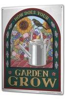 Tin Sign XXL Nostalgic Motif Garden watering can flower bird