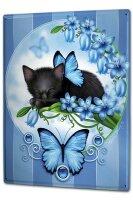 Tin Sign XXL Cat black kitten blue flowers butterfly