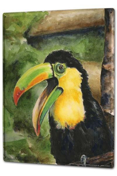 Blechschild XXL Tierarzt Praxis Papagei schwarz gelb