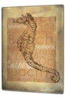 Tin Sign XXL Nursery Seahorse