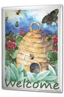 Tin Sign XXL Fun Beehive Flowers Butterfly Welcome