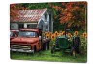 Tin Sign XXL Nostalgic Tractor Ravtive old farmhouse with...