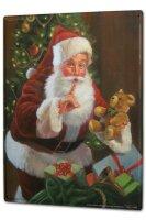 Tin Sign XXL Santa Claus Christmas Teddy gifts bag