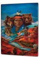 Tin Sign XXL Nostalgic Western Style Indians bear Landscape