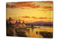 Tin Sign XXL USA Native Tipis in the sunset