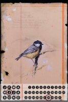 Perpetual Calendar Bird Warminski Coal Tit Tin Metal...