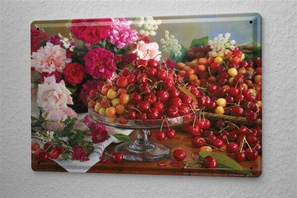 L. Sören Blechschild Küchen Deko Kirschen Wand Metall Schild 20x30 cm