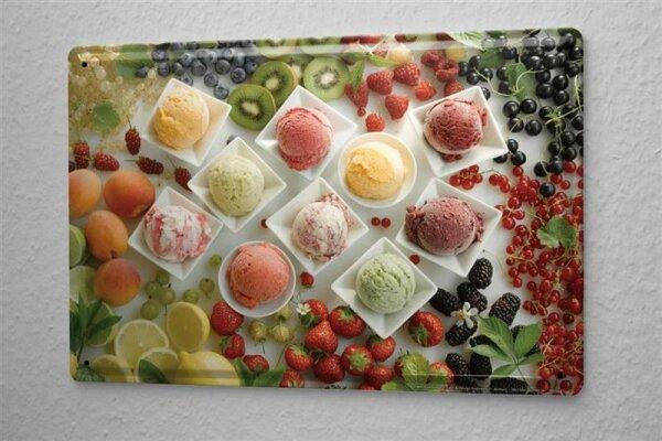 L. Sören Blechschild Retro Wand Schild Eis Kugeln Metallschild 20x30 cm