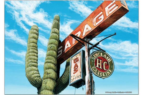 Fridge Magnet Holiday Travel Agency G. Huber cactus gas station