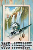 Perpetual Calendar Fantasy Gothic G. Huber Paradise bird...