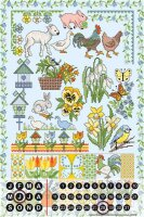 Perpetual Calendar Fun Kitchen Lindner spring Animals Tin...