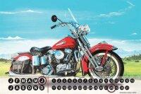 Perpetual Calendar Motorcycle Garage G. Huber Chopper Tin...