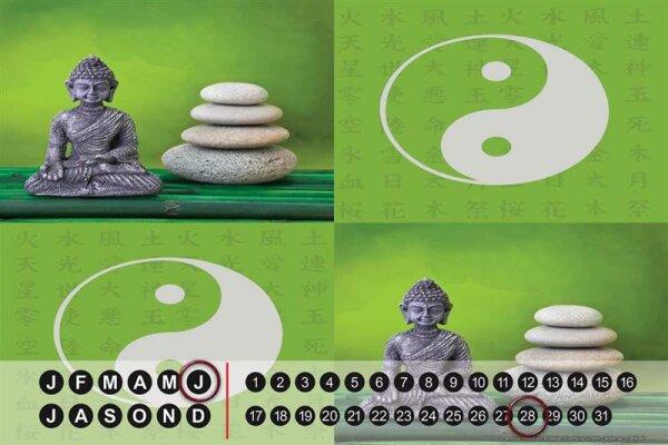 Perpetual Calendar Nostalgic Yin Yang Buddha Tin Metal Magnetic