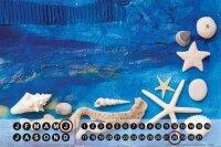 Perpetual Calendar Oceans Beach decoration Tin Metal...