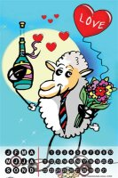 Perpetual Calendar Fun FeliX Love sheep Bouquet Tin Metal...