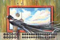 Perpetual Calendar Bird G. Huber Black plumage Tin Metal...