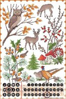 Perpetual Calendar Fun Lindner autumn Animals Tin Metal...