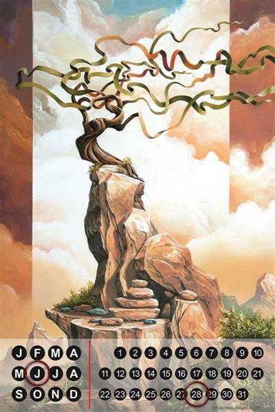 Perpetual Calendar Holiday Travel Agency G. Huber tree Sky Tin Metal Magnetic